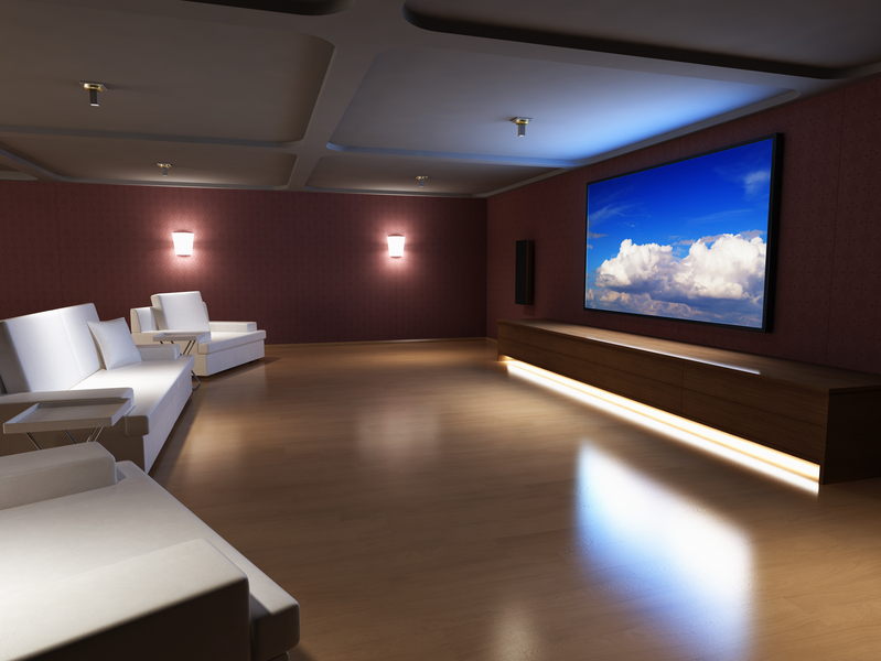 Luxury home theater interior.